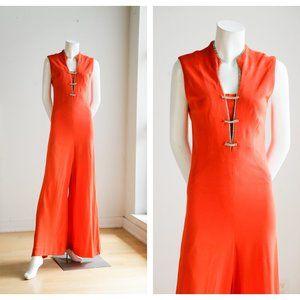 Vintage 70s Bright Orange Rhinestone Jumpsuit